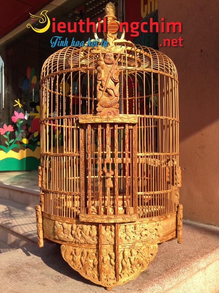 Lồng chim Mi đục bát tiên tre già ( đục tay )